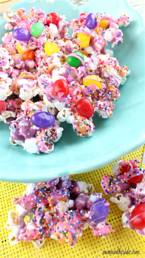 colorful popcorn and colorful jelly bean popcorn for easter on