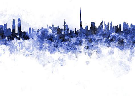 Blue Duvet Dubai Skyline In Watercolour On White Background Painting