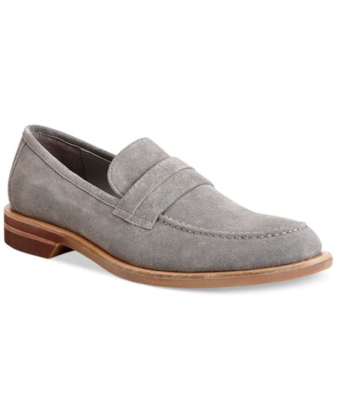 silver loafers mens calvin klein yurik suede loafers in silver for