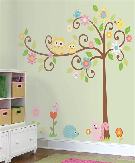 Owl Nursery Wall Decals Nature Theme Removable Wall Stickers For Rooms Nursery Playroom Classroom Trees