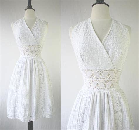 Sundress Wedding Dress by Vintage 60s Dress White Halter Sundress Mexican Wedding