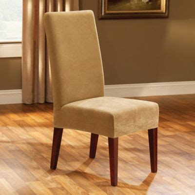 sure fit stretch pique short dining chair slipcover buy sure fit 174 stretch plush short dining room chair cover