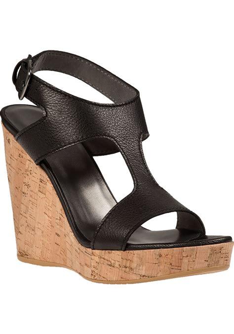 wedge sandals black lyst stuart weitzman purity wedge sandal black leather