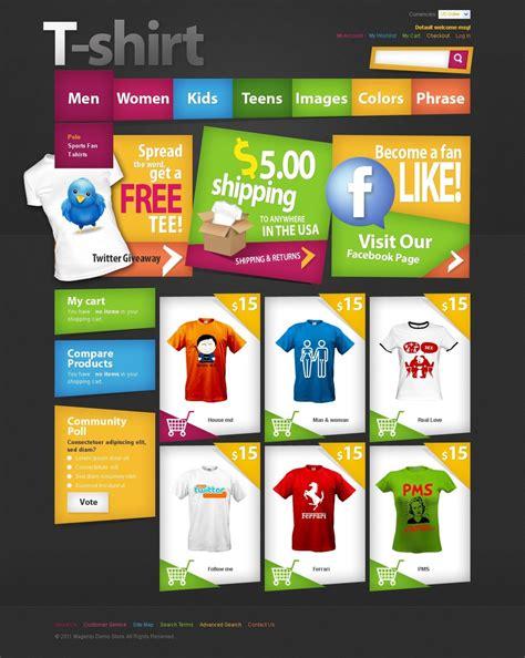 T Shirt Shop Magento Theme Web Design Templates Website Templates Download T Shirt Shop Ecommerce T Shirt Website Templates