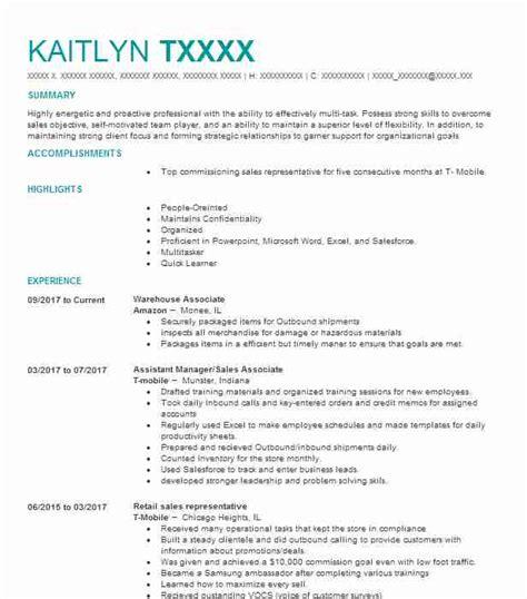Warehouse Associate Resume