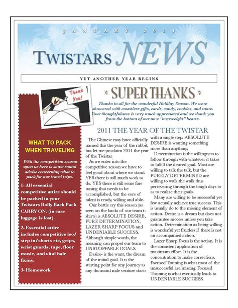 Letter Topics gymnastics coaching newsletter communication the