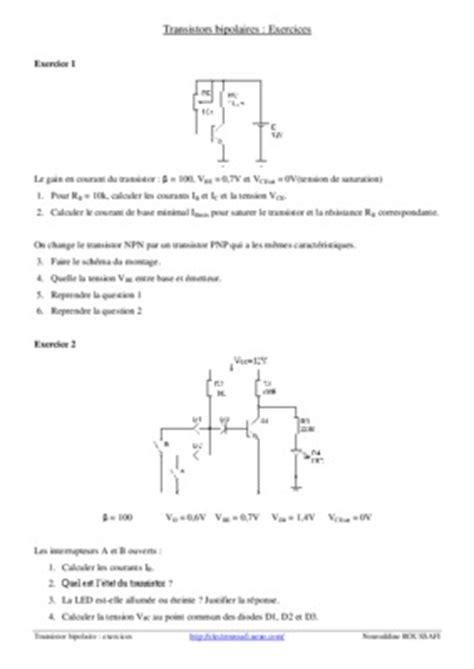 transistor mosfet utilisation diodes exercices corriges pdf 28 images exercices corriges sur le transistor a effet ch