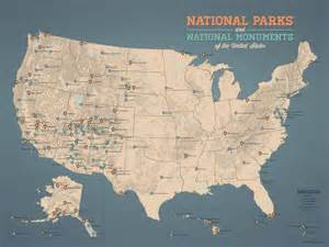 us national parks monuments map 18x24 poster by bestmapsever