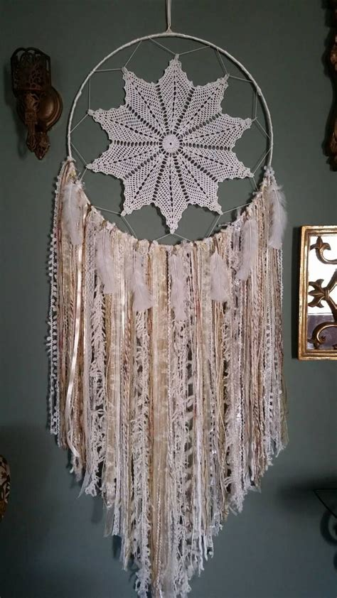 Wall Decor Dekorasi Rumah Hoop Shabby vintage doily large bohemian dreamcatcher and gold wall hanging shabby chic dreamcatcher