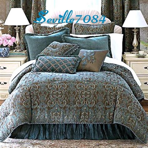6p full chris madden avondale teal blue brown comforter