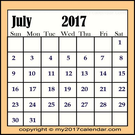 Calendar 2017 July Month Use July 2017 Calendar For Scheduling Printable Monthly