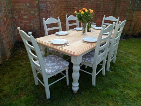 beautiful 6ft oak shabby chic dining table and 6 chairs painted in farrow ball ebay for