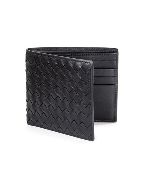Wallet Bottega Black Ml099 bottega veneta woven id wallet in black for lyst