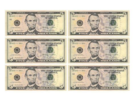 Print Money Template by 5 American Dollars Banknote Template Free Printable