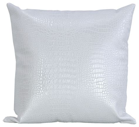 croc print faux leather throw pillow white 20 quot x20