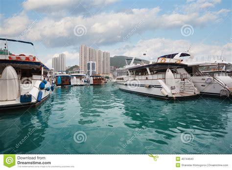 porto di hong kong porto di aberdeen con gli yacht in hong kong immagine