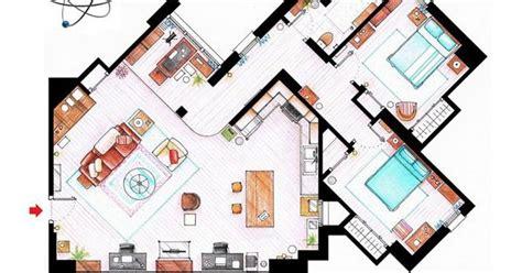 big bang theory floor plan floor plans of popular tv show apartments big bang theory