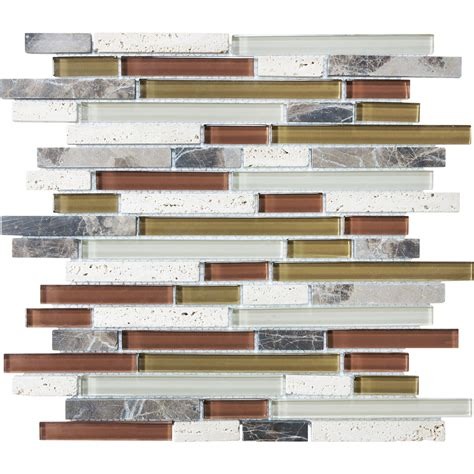 glass backsplash tile lowes shop cranberry mixed material mosaic wall tile common 12