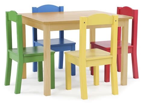 tot tutors table tot tutors kids wood table and 4 chairs set natural