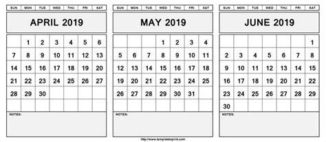 april  june  calendar   word excel printable template  images calendar