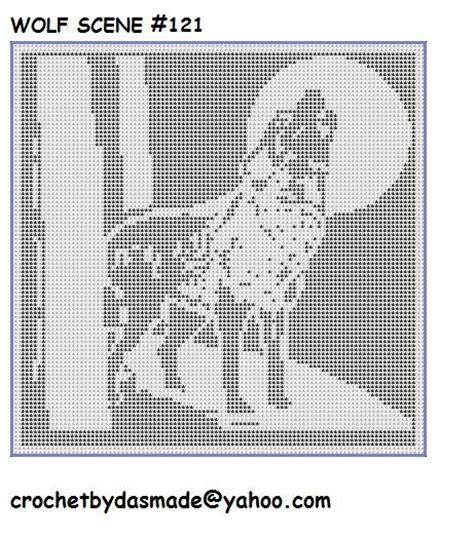 filet crochet patterns for home decor 121 wolf howling at moon filet crochet doily afghan pattern