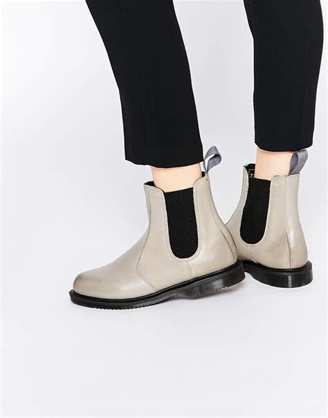 grey chelsea boots womens dr martens flora grey chelsea boots in gray lyst