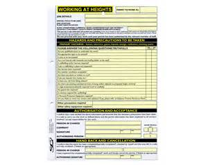 Permit To Work At Height Template by Working At Heights Permit To Work Available From Sg World