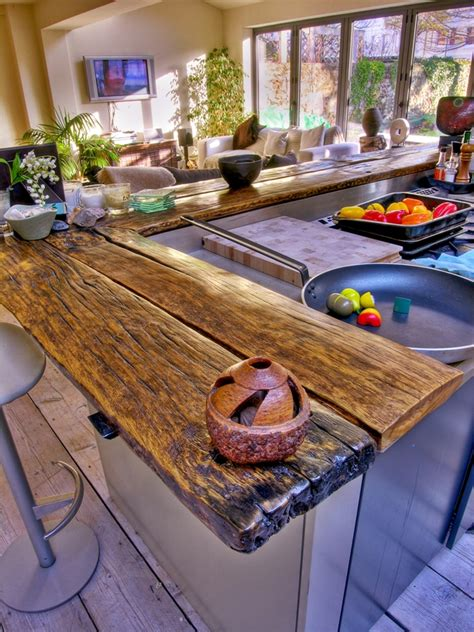natural wood bar top creating natural and vibrant countertops using reclaimed