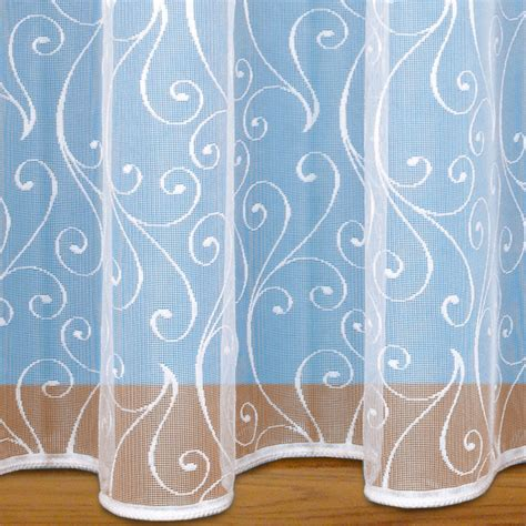 weighted voile curtains scroll design net curtain with rod slot weighted base