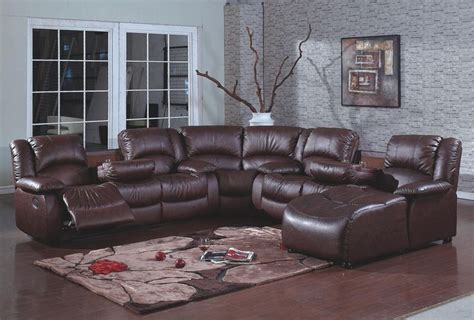 sectional couch with recliner and chaise 4 pc brown bonded leather sectional sofa with recliners