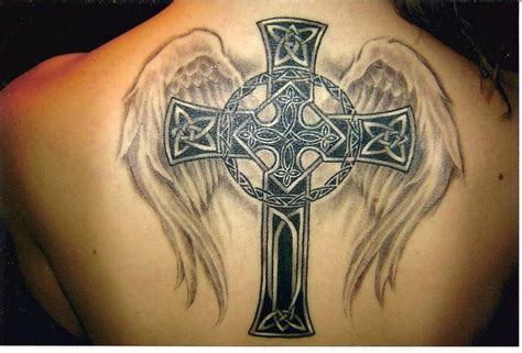 celtic cross tattoos on back a celtic cross design with christian wings is