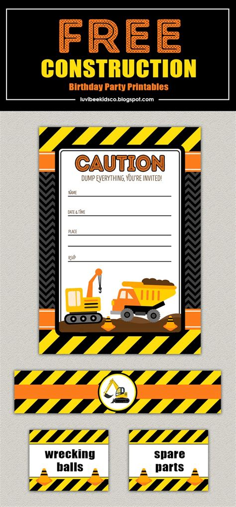 Free Construction Birthday Party Printables Luvibee Kids Co Blog Construction Themed Birthday Invitation Templates