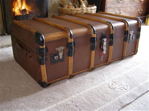 Luggage Trunk Coffee Table Antique Vintage Bound Steamer Trunk Suitcase Coffee Table Storage Luggage Ebay