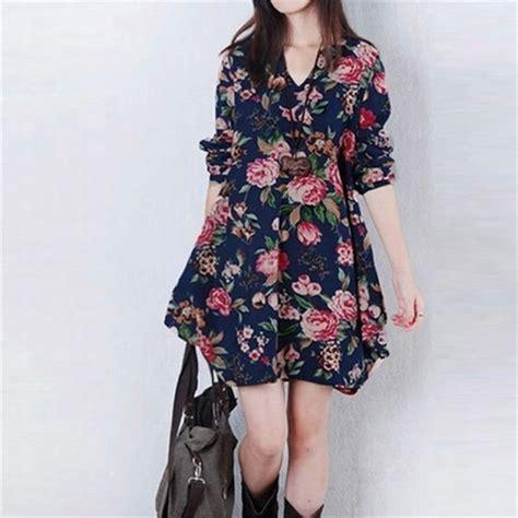 New Vestidos 2016 Autumn Dress Fashion Plus Size F 1 new autumn winter 2016 fashion vestidos floral print linen dress casual sleeve