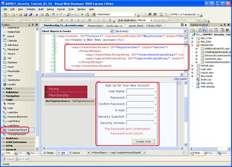 website tutorial in asp net creating user accounts c the asp net site