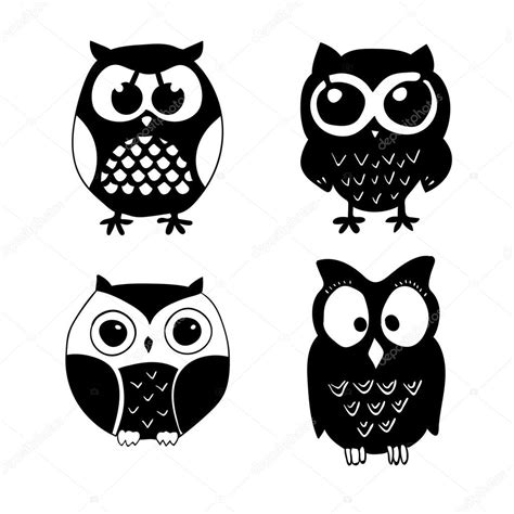 imagenes en blanco y negro de buhos chouette dessin anim 233 noir et blanc vector image