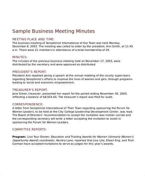meeting minutes template 10 free word pdf document