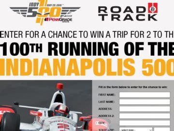 Road And Track Sweepstakes - road track indy 500 sweepstakes