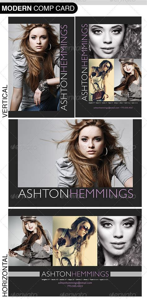 Model Comp Card Psd Templates For Photoshop by Model Comp Card Photoshop Template On Behance