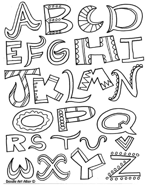 printable color fonts free doodle letters coloring pages