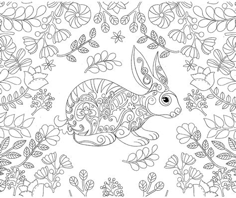 coloring pages for adults bunny rabbit bunny forest coloring adult coloriage colorir
