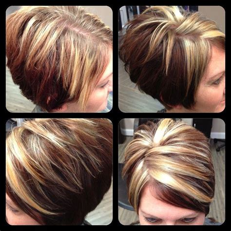 sexy bob haircut with chunky red highlites chunky highlights hair styles pinterest chunky