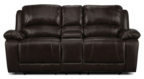 Genuine Leather Reclining Sofa Marco Genuine Leather Power Reclining Sofa Chocolate The Brick