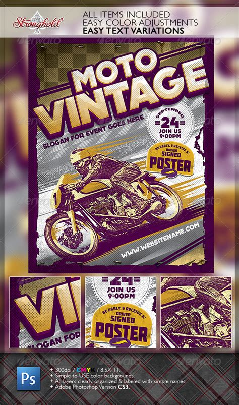 dafont molot vintage motorcycle race poster template graphicriver