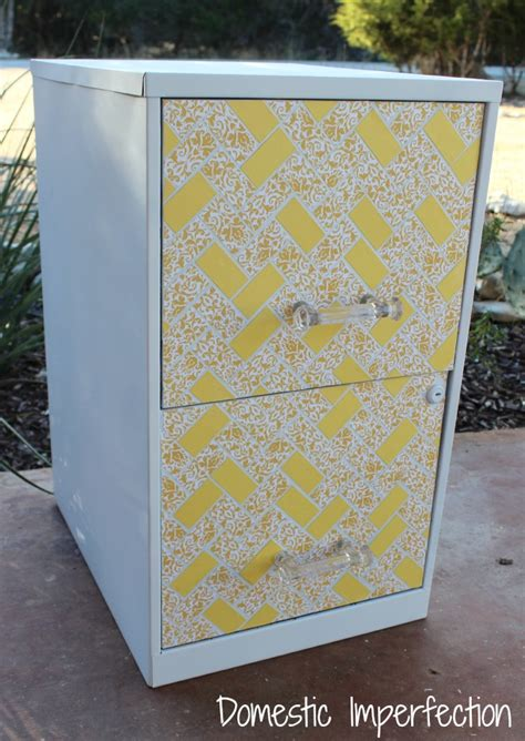 file cabinet makeover using paint scrapbook paper and