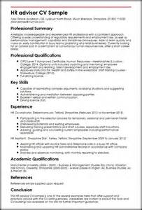 hr advisor cover letter exle cv hr advisor