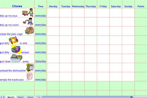 Chores Template chore calendar for the mumsy