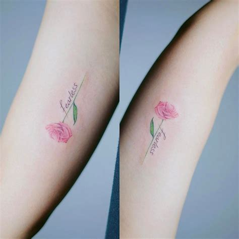 rose script tattoo script with flower and