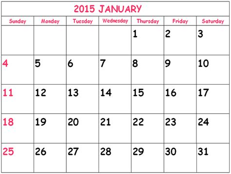 printable monthly calendar january 2015 january 2015 clander new calendar template site