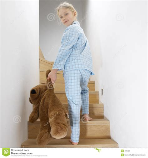 heading to bed young girl going to bed stock image image of blond teddy